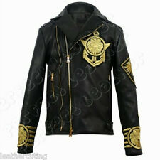 New Men BALMAIN X H&M Black Gold Metal Embroidered Lion Leather Jacket (Replica)