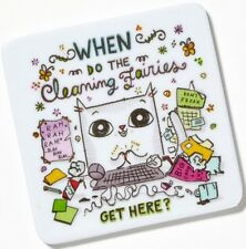 Cats At Work Melamine Magnet WHEN DO THE CLEANING FAIRIES GET HERE? Feline Cat