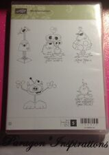 Retired Stampin Up Clear Mount MONSTERMANIACS Valentine's Day Monsters Aliens
