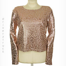 JENNIFER LOPEZ New! X-LARGE Jennifer Pink LEOPARD Print TOP Cropped Knit SPARKLE