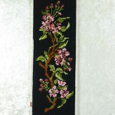"Vintage Finished Needlepoint Picture Apple Blossoms Branch on Black 5.5"" x 17"""