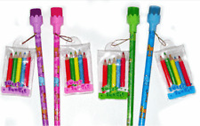 8 Girls Pencils with Crayons Party Bag Filler Toys Jungle Wedding Kids Favours