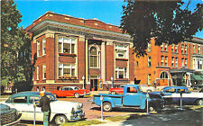 Columbia City IN City Hall & Hotel Old Cars Truck Postcard