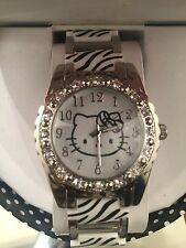 HELLO KITTY SILVER Crystal Simulated STAINLESS STEEL ZEBRA PRINT WRIST WATCH