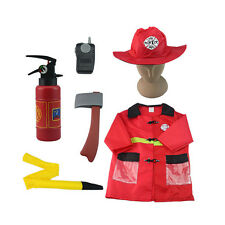 6PC Halloween Party Firefighter Fireman Costume Hat Uniform Occupation 3-7Y C51
