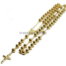 4/6/8mm Rosary Beads Stainless Steel Necklace Silver/Gold/Black/Rose Gold Women