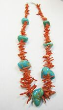 VINTAGE SOUTHWEST TURQUOISE NUGGET AND BRANCH CORAL NECKLACE 19 1/2 INCHES N233H