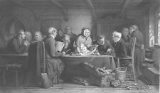 MEDIEVAL Town Leaders DISCUSS Abandoned BABY CHILD ~ 1864 Art Print Engraving