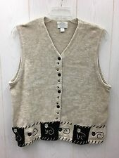 Womens Cream/Black Sweater Vest w/Cats Cat Lover CHRISTOPHER & BANKS Sz XL