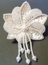 WHITE WEDDING BEAD & SEQUIN BROOCH/ PIN-,pearlized glass seed beads ,no metal