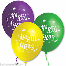 20 Mardi Gras Classic Green Purple Yellow Party Assorted Printed Latex Balloons