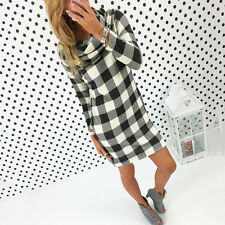 Womens Plaid Winter Long Sleeve Jumper Sweater Pullover Tunic Bodycon Mini Dress