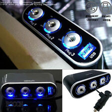 LED Light Switch+3 Way Car Cigarette Lighter Socket Splitter Charger 12V/24V