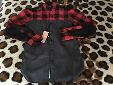 NEW Staple Pigeon Red Lubmer Jack  Button Up Shirt mens sz XS