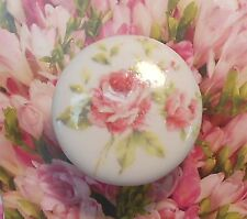 French ROSES Ceramic KNOB door cabinet drawer chic shabby Romantic Vintage chic