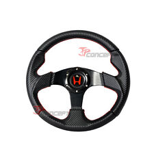 320mm Steering Wheel Black Carbon Fiber PVC Leather & Red Stitch w/Horn