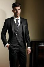 Custom Made Black Men Suit Groom Wedding Formal Tuxedos Suits Jacket+Pants+Vest