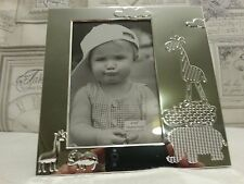 Silver Colour Photo/Picture Frame Baby Nursery Animal Design Free Standing