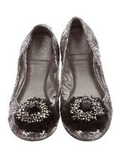 $295+Tory Burch Silver Crackle Leather Amelia CrystalBow Round toe Ballerina 6.5
