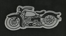 VINTAGE 50s STYLE MOTOCYCLE (INDIAN HARLEY) HOT ROD MC REPRO BIKER PATCH GRAY