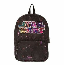 "Disney Star Wars Starry Galaxy Print Star Wars Logo 17"" Backpack Bookbag NWT"