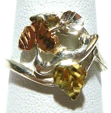 DESIGNER STERLING SILVER 12K BLACK HILLS GOLD LEAF WOMENS ESTATE RING SIZE 7
