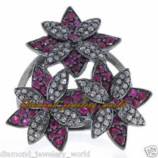 Vintage Estate 3.06cts Rose Cut Diamond Ruby Sterling Silver Jewelry Flower Ring