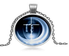 Cross +Water Moon  photo Cabochon Glass Tibet Silver Chain Pendant Necklace