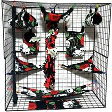 Skull and roses  *15 PC Sugar Glider Cage set * Rat * double layer Fleece