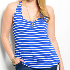 Size 3XL TANK TOP SHIRT Womens Plus RACER BACK Blue & White STRIPES Finesse NEW