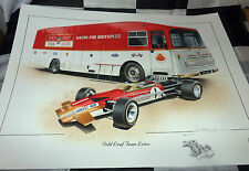 GOLD LEAF TEAM LOTUS TRANSPORTER LOTUS 49 NEW PAINTING PRINT ARTWORK RINDT HILL