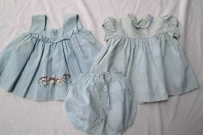 vtg newborn baby blue gingham 3 pc lot dress pants pinafore ruffle Raggedy Ann