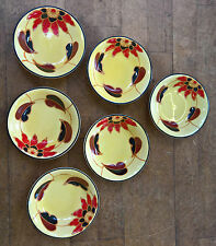SET OF SIX DITMAR URBACH HAND PAINTED ART DECO CEREAL / FRUIT BOWLS 15CMS ACROSS