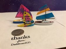 Micro Machines Lot Of 3 Sail Boats And Wind Sail