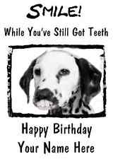 Dalmatian Dog Happy Birthday Card Smile Teeth 28 A5 Personalised Greetings