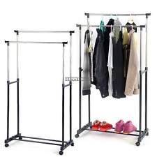 Clothes Garment Hanging Rail Rack Double Adjustable Rolling + Shoe Shelf Rack US