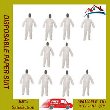 10 X High Quality Disposable Paper Suit Protective Overall Coverall Size Large