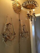 Vintage Italian GiltTole Wall Sconces With Crystal Prisms And Chandelier/Sconce