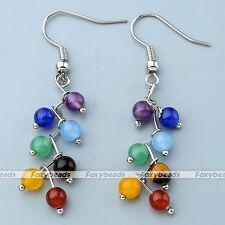 Womens 7 Chakra Gemstone 4mm Beads Dangle Hook Earrings Ear Piercing Jewelry
