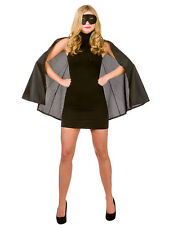 Adult Short Superhero Black Cape & Eye Mask Fancy Dress Halloween Vampire Gothic