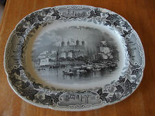 Victorian Black & White Transfer Meat Platter 'The Tower of London'
