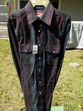 NEW Vtg Wrangler Men Charcoal STRIPE FLANNEL Cowboy Western PEARL SNAP Shirt M