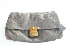 Marc By Marc Jacobs Newsprint Macro Marc Leather Linda Clutch $268 Gray