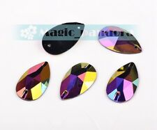 28x17mm Faceted Flatback Teardrop Resin Sewing Sew On Buttons Colorized Beads