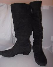 Kenneth Cole Reaction Suede Tall Black Boots Low Heel Women's Sz 7.5 VGUC