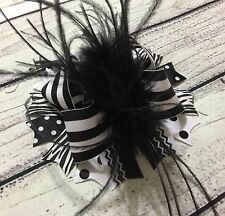 Handmade Black /White  Over The Top Ostrich Feather Boutique Hair Bow