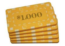 5 pcs Denominated Rectangular Poker Chips Plaques $1000