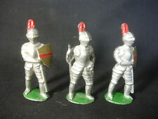 Old Vtg LOT of 3 Lead Soldiers Train Garden Figures Shield Sword Mask Armour