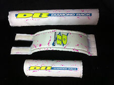80s White DIAMONDBACK FREESTYLE FRAME STEM HANDLEBAR PAD SET Old School BMX Pads