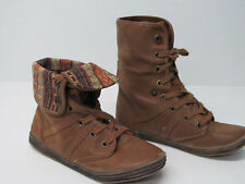 BLOWFISH ANKLE BOOTS BROWN LEATHER LIKE TAPESTRY CUFF Sz WOMENS 9